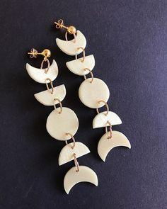 Polymer Clay Crafts, Handmade Polymer Clay, Polymer Clay Jewelry, Resin Jewelry, Jewlery, Diy Clay Earrings, Funky Earrings, Earrings Handmade, Moon Earrings