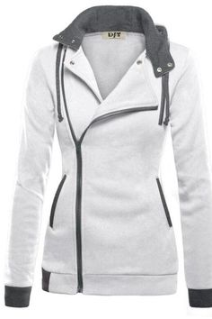 Side Zipper High Neck Patchwork Slim Hoodie Coat