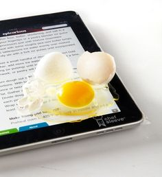 Food proof iPad sleeve for use in the kitchen. Genius!