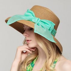 Chiffon large bow straw hat for women elegance UV package sun hats