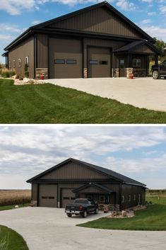 [orginial_title] – Metal Building Homes Metal Pole Barns You Are Going To Love There are basically two major types of pole barns – Metal pole barns and wood pole barns. As their names imply, metal pole barns are made with metal poles. Diy Pole Barn, Metal Pole Barns, Building A Pole Barn, Pole Barn Garage, Metal Barn Homes, Pole Barn House Plans, Pole Barn Homes, Pole House, Metal Shop Building