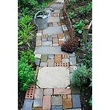 Cottage garden style path made with salvaged materials including slabs, bricks. - Stock photo from GAP Gardens, garden & plant photography Concrete Path, Brick Paving, Brick Path, Brick Garden, Eco Garden, Dream Garden, Garden Paths, Garden Ideas, Paver Pathway