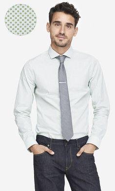 EXTRA SLIM MICRO PRINT DRESS SHIRT | Express