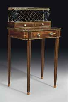 Regency brass and ebony-mounted kingwood Bonheur-du-jour, c. Industrial Furniture, Antique Furniture, Regency House, Affordable Furniture Stores, Regency Furniture, Writing Desk, Furniture Companies, Hobbies And Crafts, Old Things