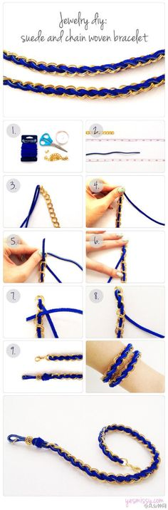 DIY Suede and Chain Woven Bracelet