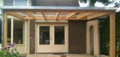 -4- Houten veranda aan huis met hellend polycarbonaat of glazen dak zelfbouw bouwpakket van lariks douglas of eiken hout wijchen nijmegen