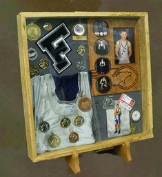 Shadow box is a box where you keep many memories there. To decorate it we have many variant shadow box ideas that could make it more interesting. Trophy Display, Award Display, Trophy Shelf, Senior Gifts, Grad Gifts, High School Memories, Family Memories, Poster Mural, Varsity Letter