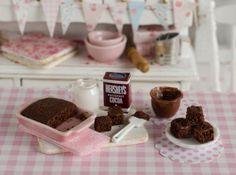Miniature Frosting Brownies Set by CuteinMiniature on Etsy