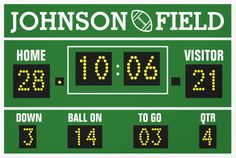 What little (or big!) football fan wouldn't dream of having their very own scoreboard?  Now they can.  This giant-sized personalized wrapped canvas, poster or wood print makes a great addition to any sports-themed bedroom, game room, den or man cave.