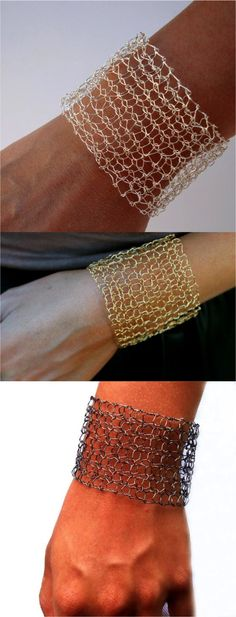 Modern chic wire mesh cuff bracelet hand knit with plated fine wire in rose, silver, or gold. | Made on Hatch.co