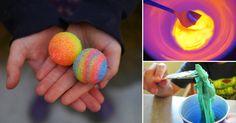Cómo hacer bolas saltarinas brillantes.  Un divertido proyecto para jugar con los más pequeños antes y después de hacerlas.