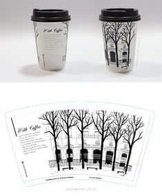 paper cup design, monotone design, design by jjplus Food Branding, Food Packaging Design, Coffee Branding, Coffee Packaging, Packaging Design Inspiration, Coffee Cup Art, Coffee Cup Design, Coffee To Go, Starbucks Cup Drawing
