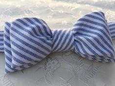 Blue Stripe Bow Tie /  blue stripe cotton by LittleQueenBowtique