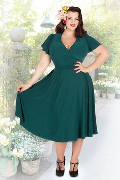 Lady Voluptuous Teal Lyra Green Plussize Dress 15478 1
