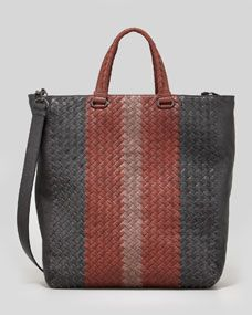 Mens Multicolor Woven Shoulder Tote Bag, Gray/Red