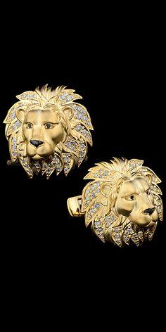 Master Exclusive Jewellery - Коллекция - Animal world cufflinks Cat Jewelry, Animal Jewelry, Gold Jewelry, Jewelry Design, Unique Jewelry, Diamonds And Gold, Lions, Jewelry Collection, Cufflinks