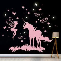 Wandtattoos - Wandtattoo Einhorn Elfe Fee Leuchtsterne M2018 - ein Designerstück von IlkaParey bei DaWanda