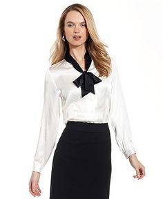 Tahari by ASL Top, Long-Sleeve Tie-Neck Colorblock Blouse - Womens Suits & Suit Separates - Macy's