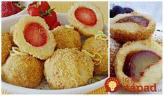 Epres túrógombóc Glaser konyhájából Cottage cheese balls with strawberry Hungarian Recipes, Cheese Ball, Cottage Cheese, 4 Ingredients, Cornbread, Muffin, Strawberry, Cooking, Breakfast