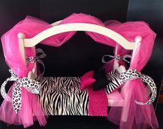 Canopy Bed Hot Pink Zebra Cheetah 18 In American Girl Doll