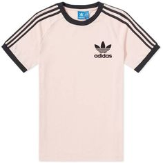 Adidas California Tee (£21) ❤ liked on Polyvore featuring tops, t-shirts, adidas tee, pink t shirt, pink top, adidas t shirt and pink tee