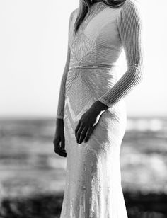 Beaded Long Sleeve Wedding Dress || Karen Willis Holmes Wedding Gown from Emma & Grace Bridal Studio || See more at emmaandgracebridal.com