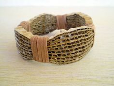 Cardboard Brown Bracelet Recycled Paper by LeftysHandcrafts