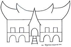 Mewarnai Rumah Adat Minangkabau Indonesian Language Indonesian Art Minangkabau School Projects Projects