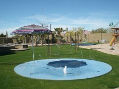 Combine that in-ground trampoline with a SPLASH PAD. | 37 Ridiculously Awesome Things To Do In Your Backyard This Summer