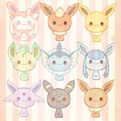 I have all of the eevee evolutions on my pokemon y game. Pokemon Eeveelutions, Pokemon Fan, Pokemon Fusion, Evolution Pokemon, Pikachu, Tsumtsum, Pokemon Pictures, Cute Chibi, Kawaii Cute
