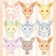 Chibi Eeveelutions <3 #Pokemon #Eeveelutions #Eevee