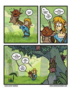 Legend of Zelda Breath of the Wild inspired comic art > Link finds the Koroks > Korok Seed > botw humor Legend Of Zelda Memes, The Legend Of Zelda, Legend Of Zelda Breath, Awkward Zombie, Botw Zelda, Hyrule Warriors, Fanart, Link Zelda, Pokemon