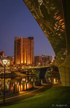 Beneath the foot bridge to Adelaide Oval. River Torrens. Adelaide CBD