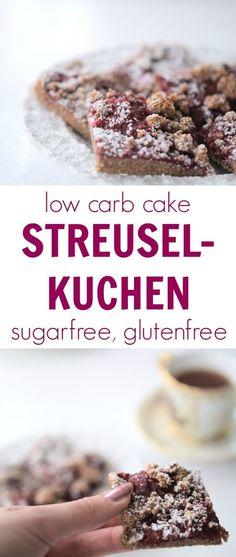 Low carb STREUSELKUCHEN with raspberry jam (sugarfree, glutenfree). Kohlenhydratarmer Kuchen ohne Zucker mit einer leckeren Himbeermarmelade. Rezept, Xucker, Erythrit, Stevia, Butter, Backen ohne Kohlenhydrate, Low Carb, zuckerfrei, glutenfrei, ohne Mehl, Backblog, Foodblog, Genuss, Gesund, Abnehmen, Healthy, Loosing Weight, Eat, Dessert, Nachtisch, Himbeeren.