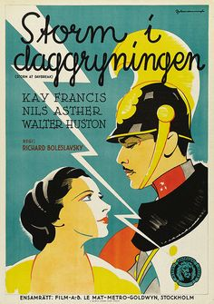 Swedish poster for STORM AT DAYBREAK (Richard Boleslavsky, USA, 1933)  Artist: Eric Rohman (1891-1949)  Poster source: Heritage Auctions