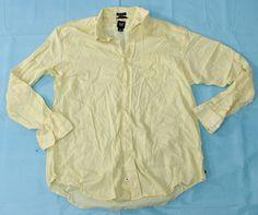 Yellow Button Front Shirt Sz L Dress Casual Gap Long Sleeve Classic Fit #Gap #ButtonFront