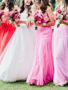 pink toned bridesmaid dresses, photo by Amy Arrington http://ruffledblog.com/georgia-wedding-with-the-ultimate-naked-cake #bridesmaidsdresses #pinkwedding