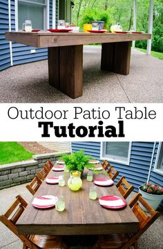 Outdoor Patio Table Tutorial.  Learn how to build your own!