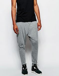 Mega lækre ASOS Drop Crotch Joggers In Super Lightweight Fabric In Grey Marl - Grey marl ASOS Bukser & Chinos til Herrer i fantastisk kvalitet