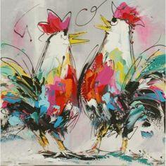 Schilderij twee kippen kleurrijk grijs twee kipjes