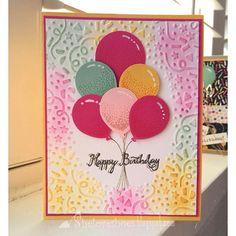 """iMakeCards... Bright sunny birthday card using stampin up balloon celebration…"