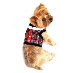 """Doggie Design """"Red 'n Black Tweed""""  Plush Minky Fur Harness Vest with matching Leash"""