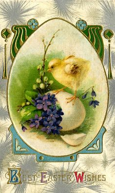 Embossed Easter Greeting Showing Chick and Egg with Flowers Very Old Card Easter Art, Hoppy Easter, Easter Crafts, Vintage Easter, Vintage Holiday, Vintage Greeting Cards, Vintage Postcards, Fete Pascal, Easter Illustration
