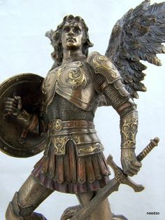 Bronze St Saint Michael Angel Policeman Badge Statue