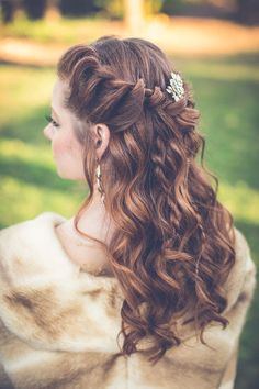 Long curls with braid Game of Thrones Wedding Inspiration photos by Shanell Bledsoe Photography | The Pink Bride® www.thepinkbride.com