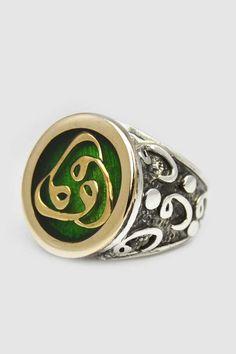 Özel El İşi Osmanlı Usülü Yeşil Mineli Üç Vav Yazılı Gümüş Yüzük