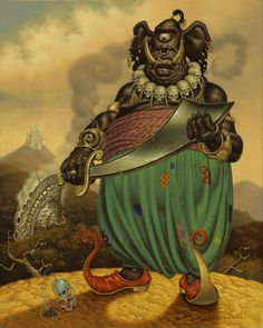 """AN ALIEN IN THE LAND OF MAKE BELIEVE-Todd Schorr  acrylic on canvas, 2003  30"""" x 24""""  @toddschorr.com"""