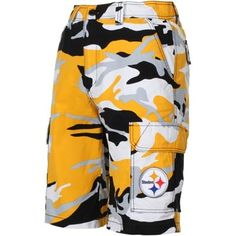 Pittsburgh Steelers Tailgate Camo Shorts - Black/Gold (size 34)