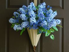summer wreath Mother's day wreath blue flowers by aniamelisa, $95.00