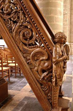 Lier, Vlaanderen, Sint-Gummaruskerk, pulpit, stairs, detail